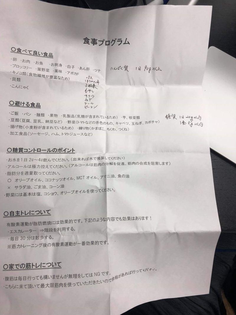 24/7ワークアウトの食事制限表